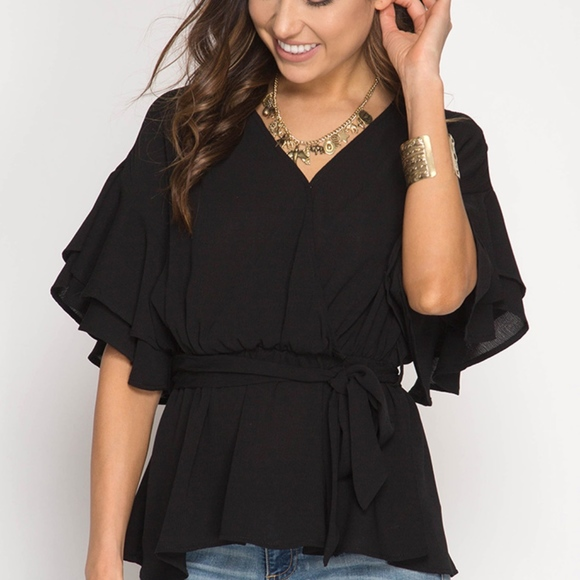 caed7395d2 NWT Double Ruffle Sleeve Surplice Top Tie Waist Boutique